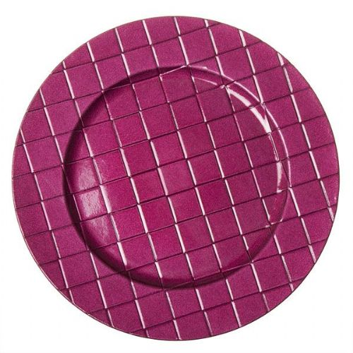 CYCLAMEN PINK Checkered Charger Plate / Underplates - 33cm